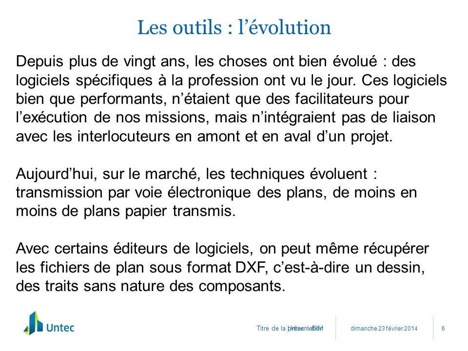Titre de la présentation Les outils : lévolution dimanche 23 février 2014 Untec - BIM 6 Depuis plus de vingt ans, les choses ont bien évolué : des log