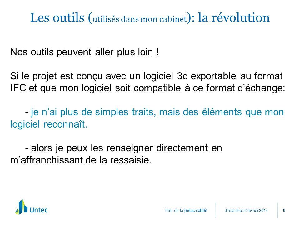 Titre de la présentation Les outils ( utilisés dans mon cabinet ): la révolution dimanche 23 février 2014 Untec - BIM 9 Nos outils peuvent aller plus