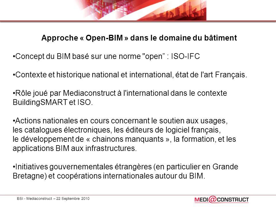 BSI - Mediaconstruct – 22 Septembre 2010 Approche « Open-BIM » dans le domaine du bâtiment Concept du BIM basé sur une norme