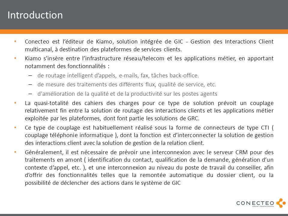 Introduction Conecteo est léditeur de Kiamo, solution intégrée de GIC - Gestion des Interactions Client multicanal, à destination des plateformes de s