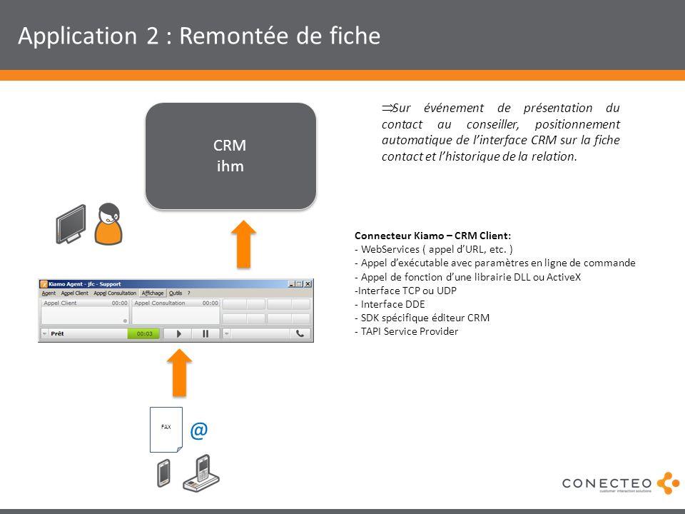Application 2 : Remontée de fiche CRM ihm CRM ihm Sur événement de présentation du contact au conseiller, positionnement automatique de linterface CRM