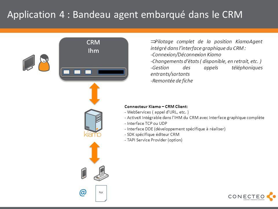 Application 4 : Bandeau agent embarqué dans le CRM CRM Ihm CRM Ihm @ FAX Pilotage complet de la position KiamoAgent intégré dans linterface graphique