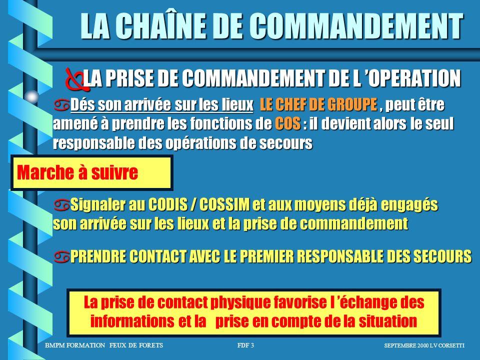 BMPM FORMATION FEUX DE FORETS FDF 3 SEPTEMBRE 2000 LV CORSETTI LA CHAÎNE DE COMMANDEMENT LA PRISE DE COMMANDEMENT DE L OPERATION LA PRISE DE COMMANDEM
