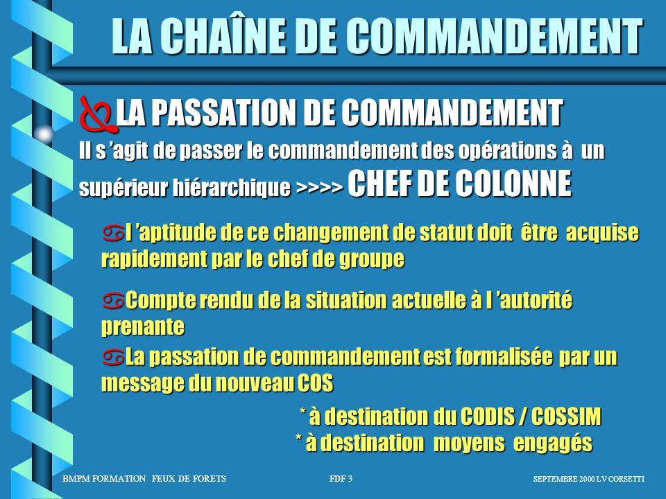 BMPM FORMATION FEUX DE FORETS FDF 3 SEPTEMBRE 2000 LV CORSETTI LA CHAÎNE DE COMMANDEMENT LA PASSATION DE COMMANDEMENT LA PASSATION DE COMMANDEMENT Il