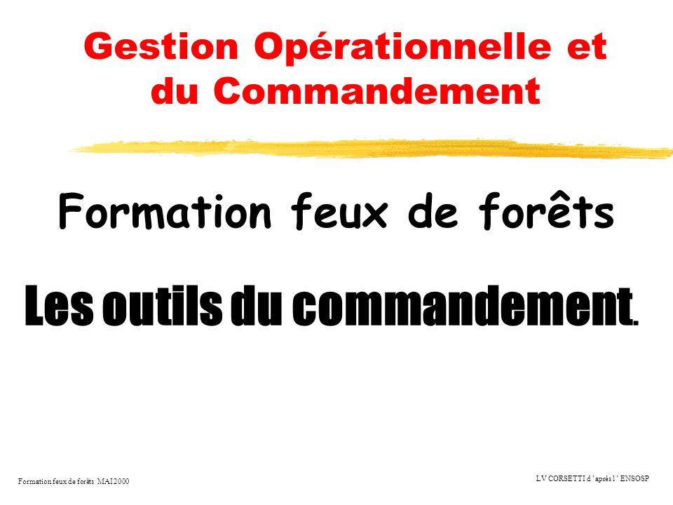 Formation feux de forêts MAI 2000 LV CORSETTI d après l ENSOSP Gestion Opérationnelle et du Commandement Les outils du commandement. Formation feux de