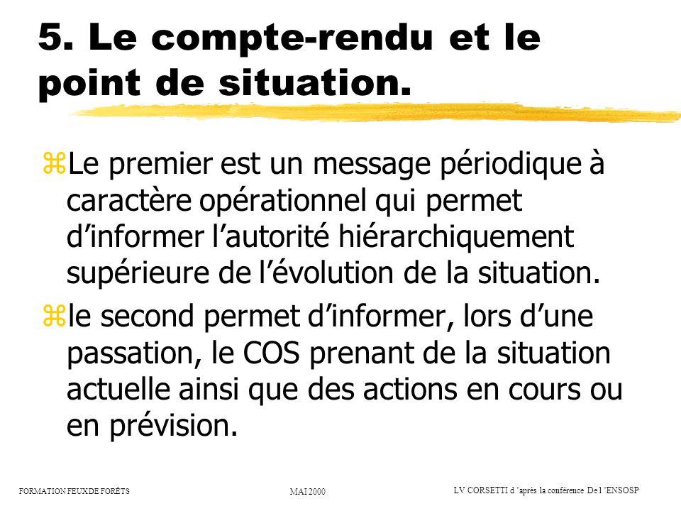 FORMATION FEUX DE FORËTS MAI 2000 LV CORSETTI d après la conférence De l ENSOSP 5. Le compte-rendu et le point de situation. zLe premier est un messag