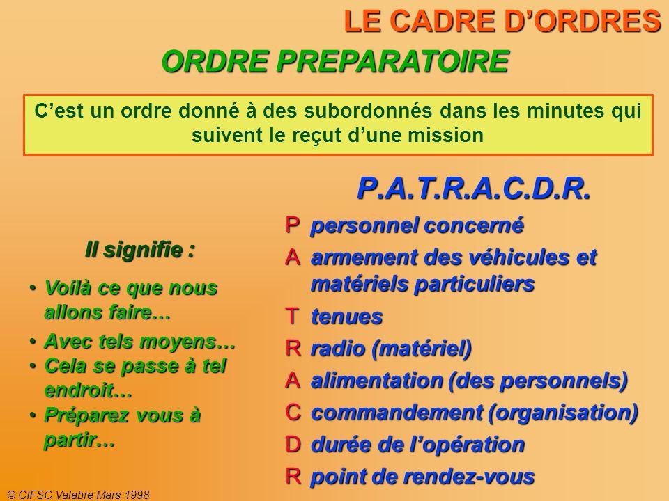 © CIFSC Valabre Mars 1998 LE CADRE DORDRES P.A.T.R.A.C.D.R. personnel concerné personnel concerné armement des véhicules et matériels particuliers arm