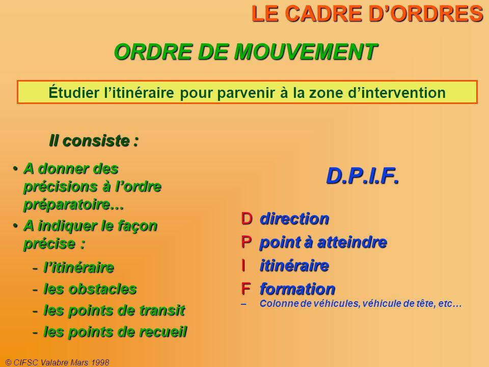 © CIFSC Valabre Mars 1998 LE CADRE DORDRES D.P.I.F. direction direction point à atteindre point à atteindre itinéraire itinéraire formation formation