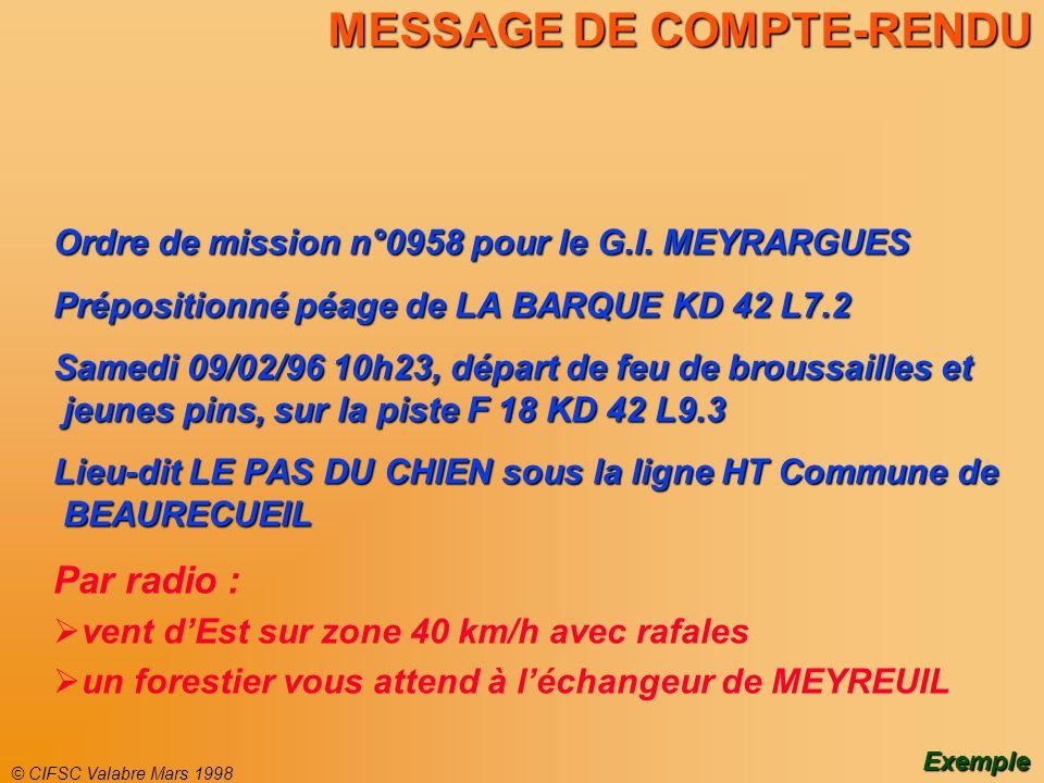 © CIFSC Valabre Mars 1998 MESSAGE DE COMPTE-RENDU Ordre de mission n°0958 pour le G.I. MEYRARGUES Prépositionné péage de LA BARQUE KD 42 L7.2 Samedi 0