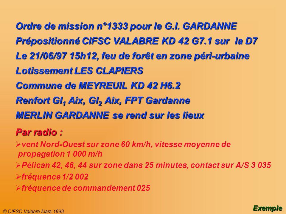 © CIFSC Valabre Mars 1998 Ordre de mission n°1333 pour le G.I. GARDANNE Prépositionné CIFSC VALABRE KD 42 G7.1 sur la D7 Le 21/06/97 15h12, feu de for