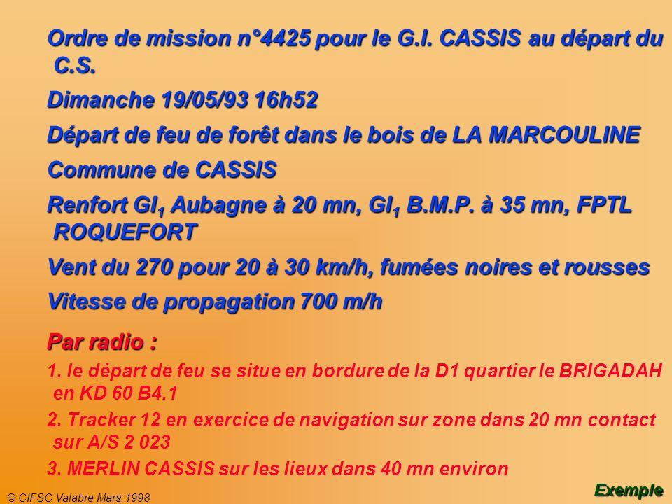 © CIFSC Valabre Mars 1998 Ordre de mission n°4425 pour le G.I. CASSIS au départ du C.S. Dimanche 19/05/93 16h52 Départ de feu de forêt dans le bois de