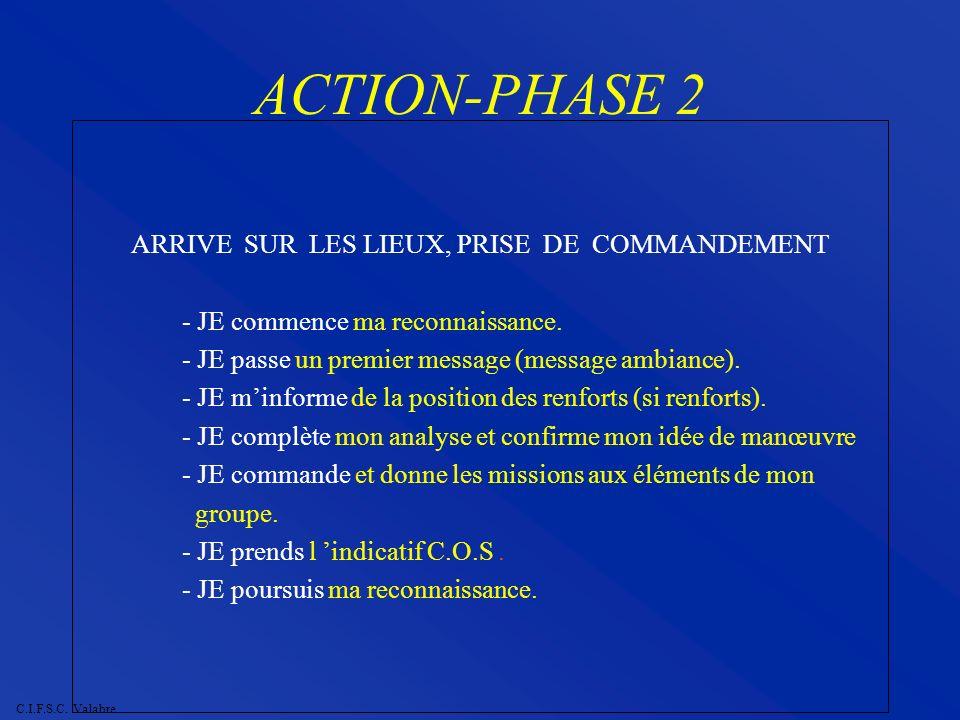 C.I.F.S.C. Valabre ACTION-PHASE 2 ARRIVE SUR LES LIEUX, PRISE DE COMMANDEMENT - JE commence ma reconnaissance. - JE passe un premier message (message