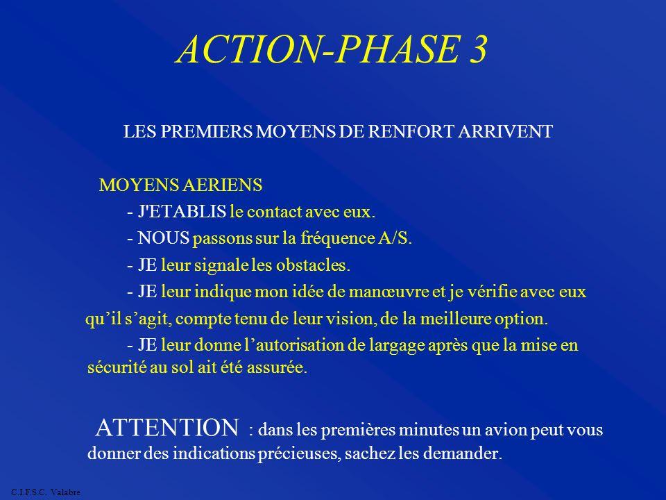 C.I.F.S.C. Valabre ACTION-PHASE 3 LES PREMIERS MOYENS DE RENFORT ARRIVENT MOYENS AERIENS - J'ETABLIS le contact avec eux. - NOUS passons sur la fréque