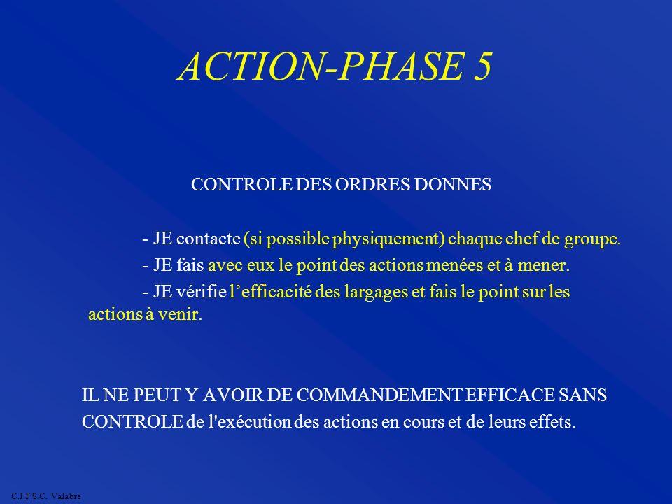 C.I.F.S.C. Valabre ACTION-PHASE 5 CONTROLE DES ORDRES DONNES - JE contacte (si possible physiquement) chaque chef de groupe. - JE fais avec eux le poi