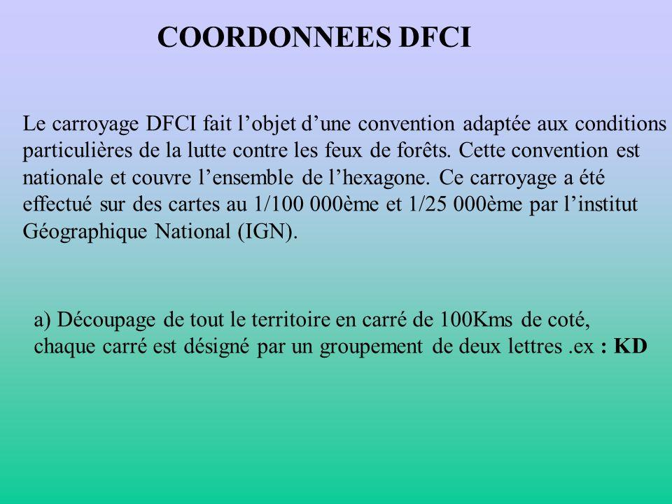 COORDONNEES DFCI Le carroyage DFCI fait lobjet dune convention adaptée aux conditions particulières de la lutte contre les feux de forêts. Cette conve