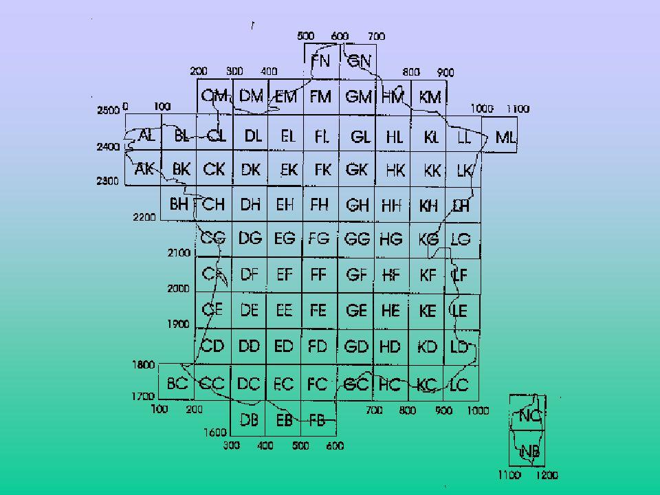 b) Chaque carré de 100Kms est lui même divisé en zone de 20Kms de coté.
