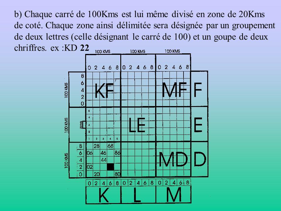 b) Chaque carré de 100Kms est lui même divisé en zone de 20Kms de coté. Chaque zone ainsi délimitée sera désignée par un groupement de deux lettres (c