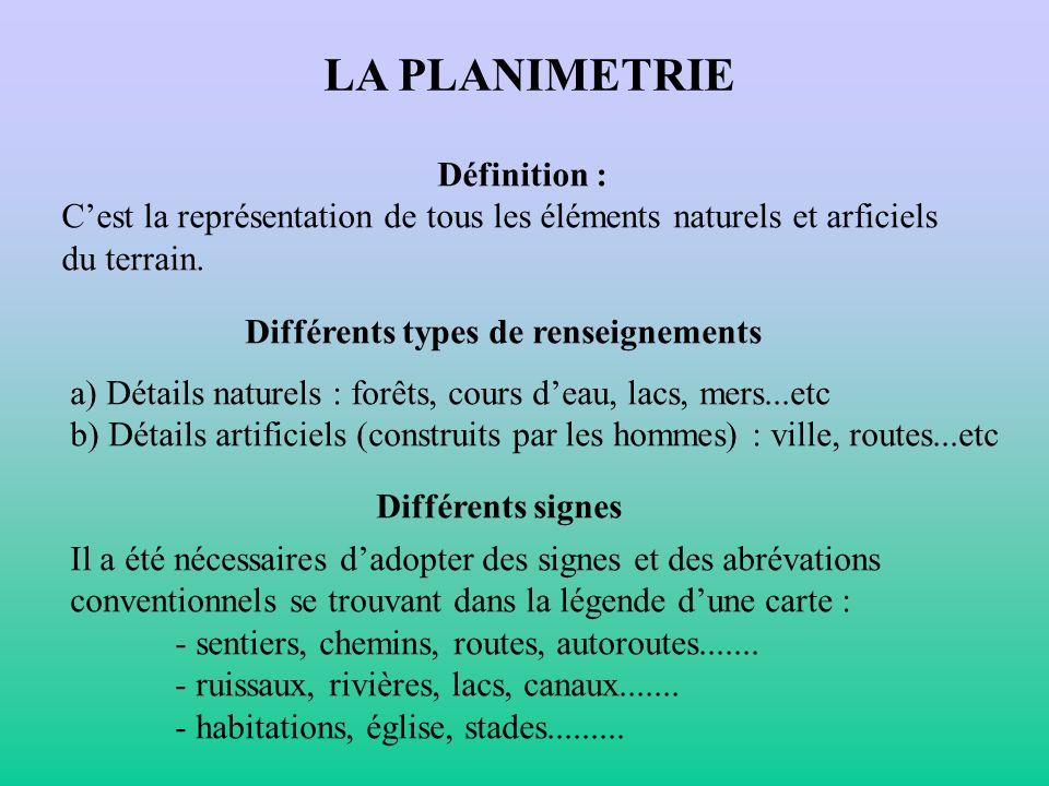 LA PLANIMETRIE Définition : Cest la représentation de tous les éléments naturels et arficiels du terrain. Différents types de renseignements a) Détail
