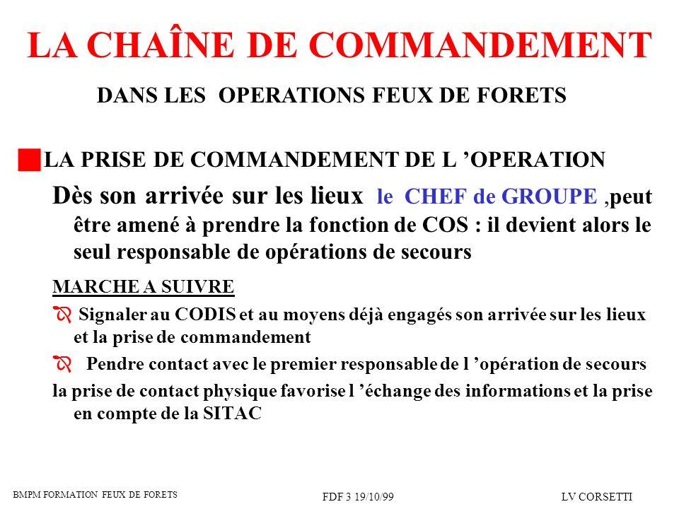 BMPM FORMATION FEUX DE FORETS FDF 3 19/10/99LV CORSETTI LA CHAÎNE DE COMMANDEMENT DANS LES OPERATIONS FEUX DE FORETS LA PRISE DE COMMANDEMENT DE L OPE