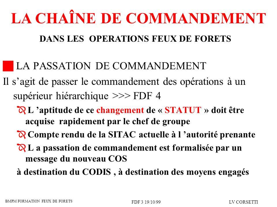 BMPM FORMATION FEUX DE FORETS FDF 3 19/10/99LV CORSETTI LA CHAÎNE DE COMMANDEMENT DANS LES OPERATIONS FEUX DE FORETS LA PASSATION DE COMMANDEMENT Il s