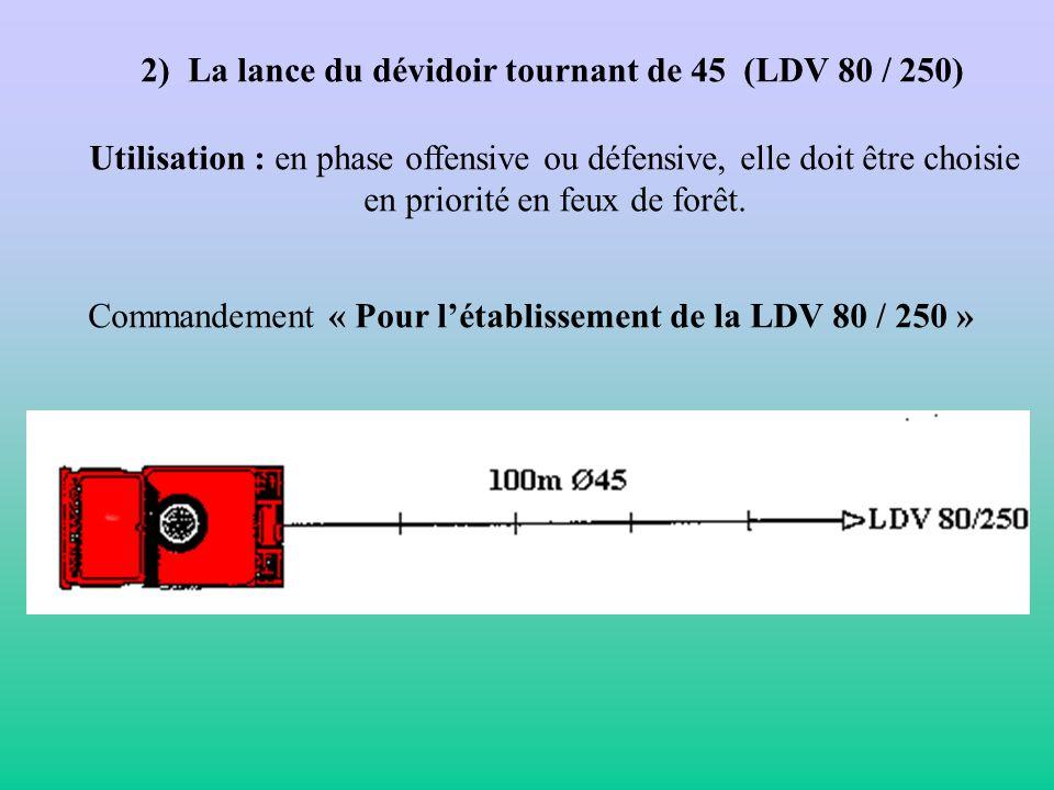 VII. Les établissements au CCF 1) Etablissement de la LDV 100 : Utilisation : feu dherbe, de broussailles, de chaume..... Commandement : « Avec la LDT