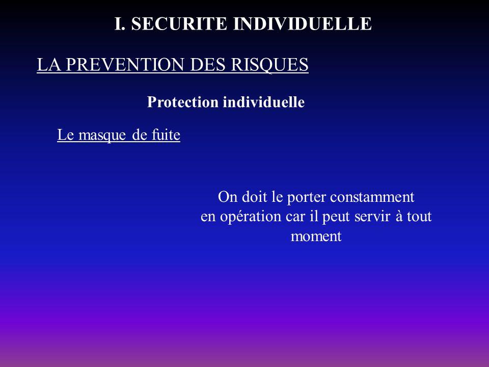 Protection individuelle LA PREVENTION DES RISQUES I. SECURITE INDIVIDUELLE Le masque de fuite On doit le porter constamment en opération car il peut s