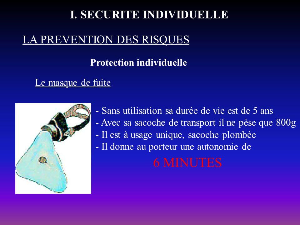 Protection individuelle LA PREVENTION DES RISQUES I. SECURITE INDIVIDUELLE Le masque de fuite - Sans utilisation sa durée de vie est de 5 ans - Avec s