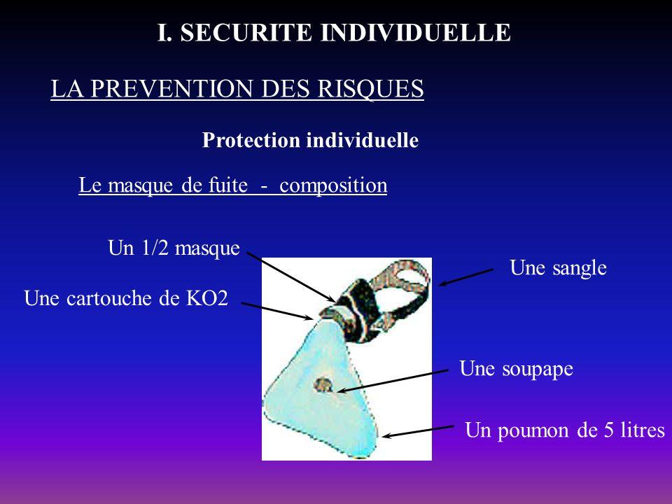 Protection individuelle LA PREVENTION DES RISQUES I. SECURITE INDIVIDUELLE Le masque de fuite - composition Une sangle Une soupape Un poumon de 5 litr