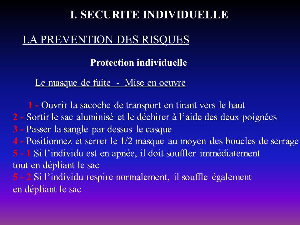Protection individuelle LA PREVENTION DES RISQUES I. SECURITE INDIVIDUELLE Le masque de fuite - Mise en oeuvre 1 - Ouvrir la sacoche de transport en t