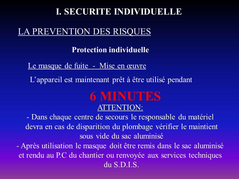 Protection individuelle LA PREVENTION DES RISQUES I. SECURITE INDIVIDUELLE Le masque de fuite - Mise en œuvre Lappareil est maintenant prêt à être uti