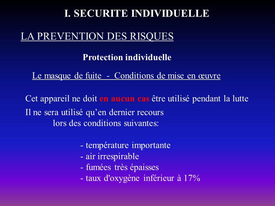 Protection individuelle LA PREVENTION DES RISQUES I. SECURITE INDIVIDUELLE Le masque de fuite - Conditions de mise en œuvre Cet appareil ne doit en au