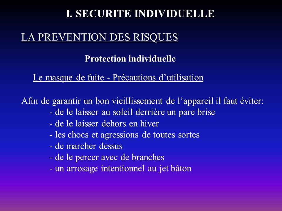 Protection individuelle LA PREVENTION DES RISQUES I. SECURITE INDIVIDUELLE Le masque de fuite - Précautions dutilisation Afin de garantir un bon vieil