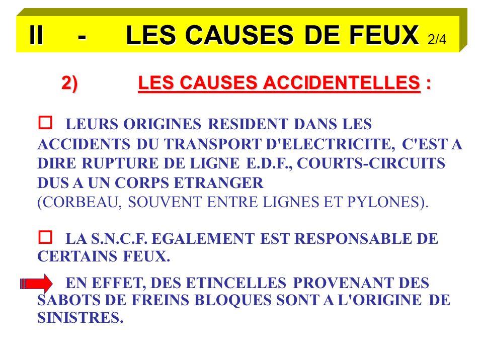 II - LES CAUSES DE FEUX II - LES CAUSES DE FEUX 2/4 2)LES CAUSES ACCIDENTELLES : LEURS ORIGINES RESIDENT DANS LES ACCIDENTS DU TRANSPORT D ELECTRICITE, C EST A DIRE RUPTURE DE LIGNE E.D.F., COURTS-CIRCUITS DUS A UN CORPS ETRANGER (CORBEAU, SOUVENT ENTRE LIGNES ET PYLONES).