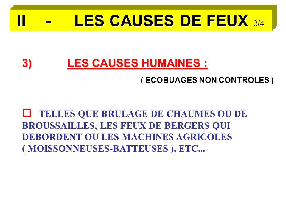 II - LES CAUSES DE FEUX II - LES CAUSES DE FEUX 3/4 3)LES CAUSES HUMAINES : ( ECOBUAGES NON CONTROLES ) TELLES QUE BRULAGE DE CHAUMES OU DE BROUSSAILLES, LES FEUX DE BERGERS QUI DEBORDENT OU LES MACHINES AGRICOLES ( MOISSONNEUSES-BATTEUSES ), ETC...