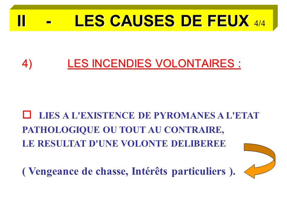 II - LES CAUSES DE FEUX II - LES CAUSES DE FEUX 4/4 4)LES INCENDIES VOLONTAIRES : LIES A L EXISTENCE DE PYROMANES A L ETAT PATHOLOGIQUE OU TOUT AU CONTRAIRE, LE RESULTAT D UNE VOLONTE DELIBEREE ( Vengeance de chasse, Intérêts particuliers ).