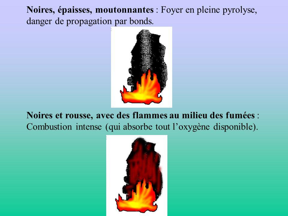 Noires, épaisses, moutonnantes : Foyer en pleine pyrolyse, danger de propagation par bonds. Noires et rousse, avec des flammes au milieu des fumées :