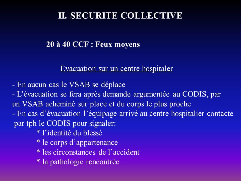 II. SECURITE COLLECTIVE 20 à 40 CCF : Feux moyens Evacuation sur un centre hospitaler - En aucun cas le VSAB se déplace - Lévacuation se fera après de