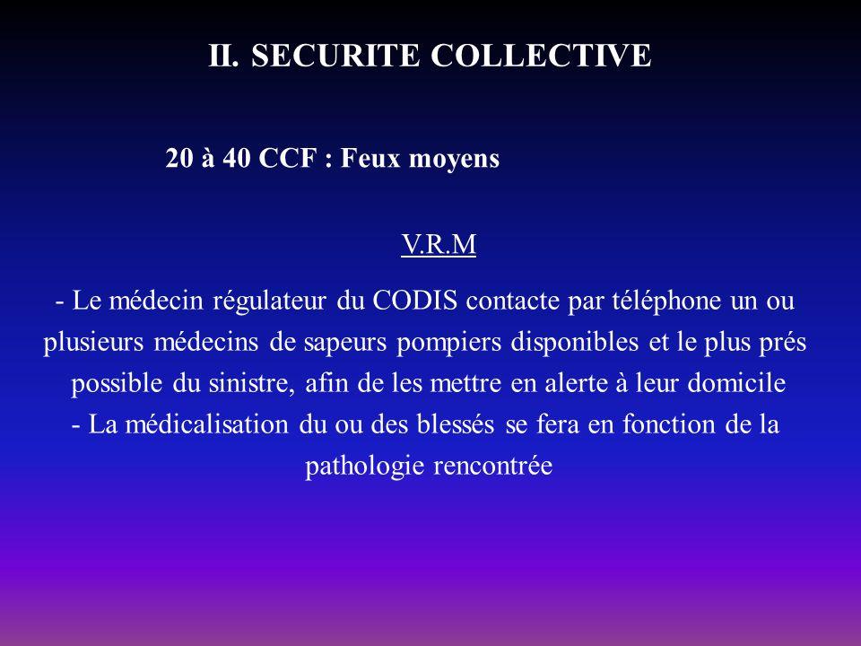 II. SECURITE COLLECTIVE 20 à 40 CCF : Feux moyens V.R.M - Le médecin régulateur du CODIS contacte par téléphone un ou plusieurs médecins de sapeurs po