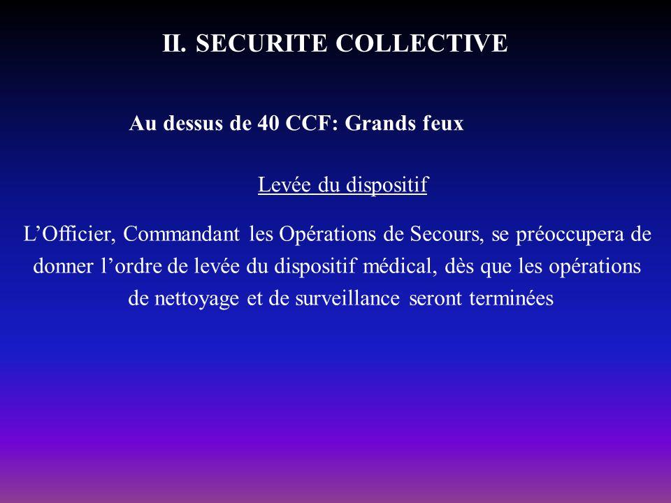 II. SECURITE COLLECTIVE Au dessus de 40 CCF: Grands feux Levée du dispositif LOfficier, Commandant les Opérations de Secours, se préoccupera de donner