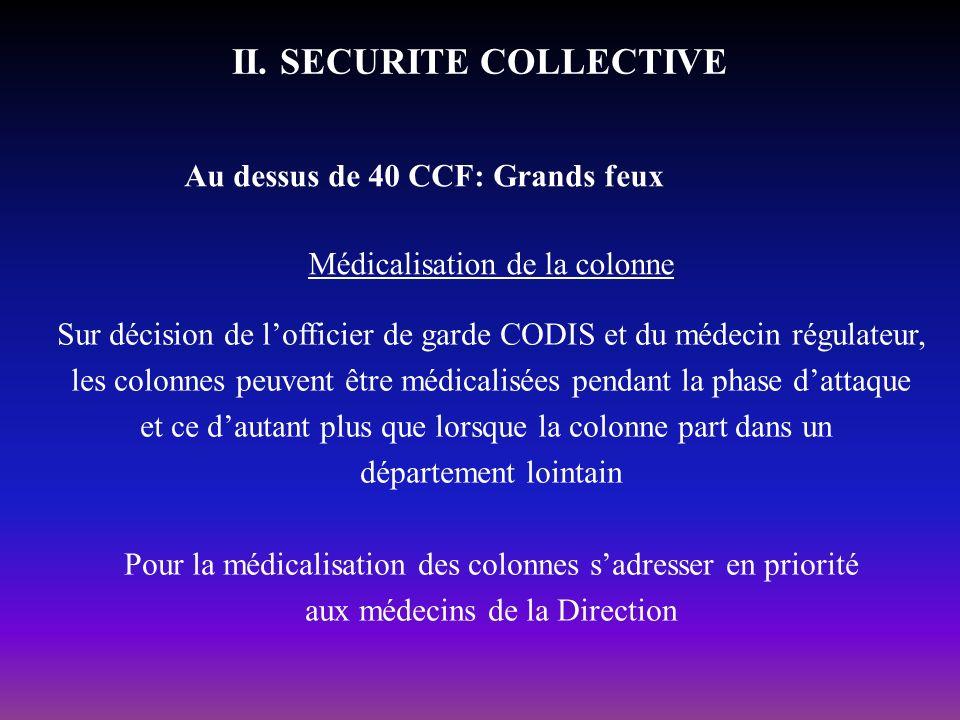 II. SECURITE COLLECTIVE Au dessus de 40 CCF: Grands feux Médicalisation de la colonne Sur décision de lofficier de garde CODIS et du médecin régulateu