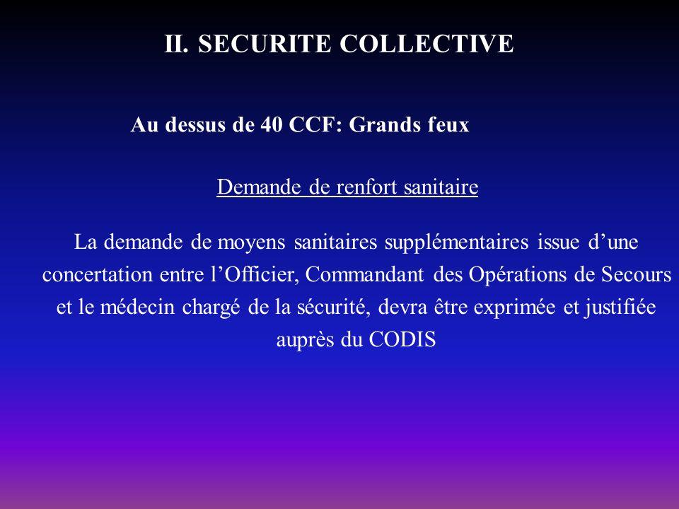 II. SECURITE COLLECTIVE Au dessus de 40 CCF: Grands feux Demande de renfort sanitaire La demande de moyens sanitaires supplémentaires issue dune conce