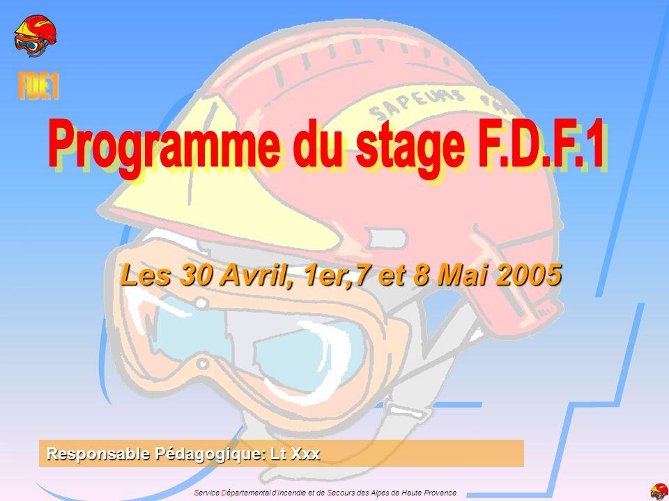 Les 30 Avril, 1er,7 et 8 Mai 2005 Responsable Pédagogique: Lt Xxx