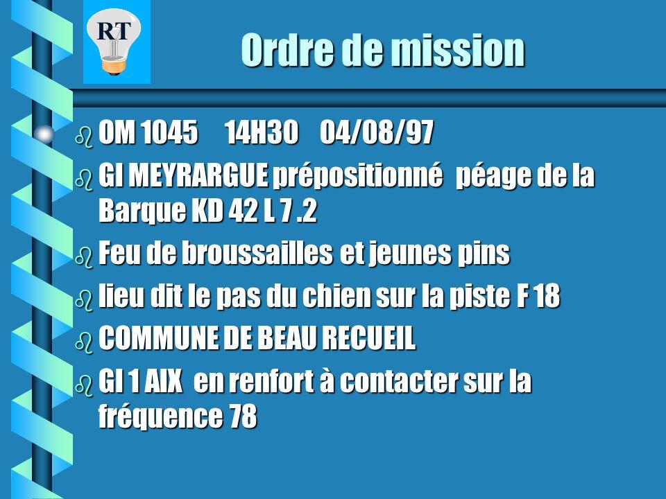 RT Chronologie des opérations Différentes phases Ordres correspondants 1) Recevoir la mission 2) Etudier la mission 3) Déplacement des moyens 5) Exécu