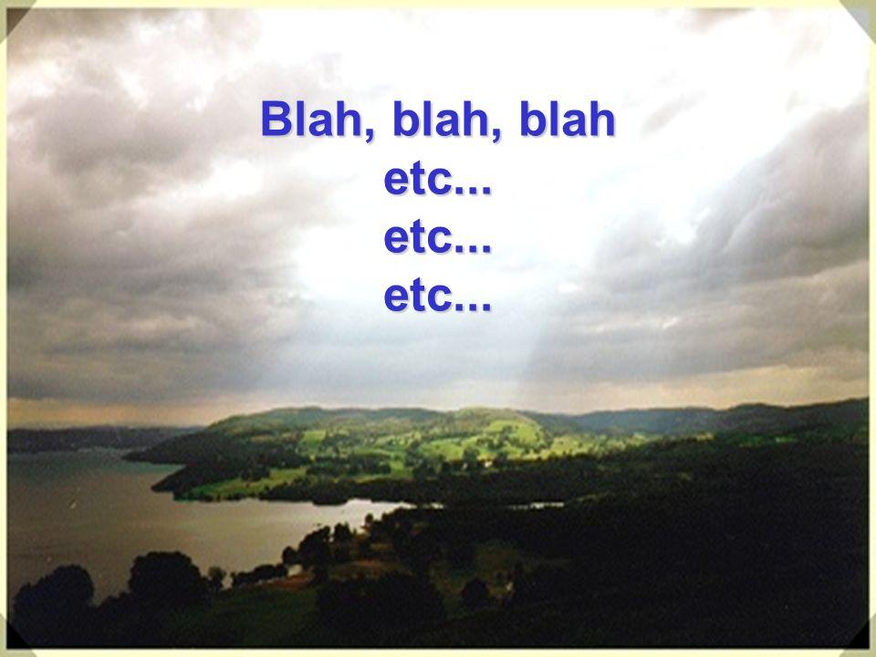 Blah, blah, blah etc... etc... etc...