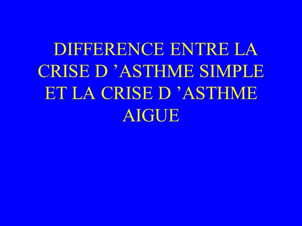 DIFFERENCE ENTRE LA CRISE D ASTHME SIMPLE ET LA CRISE D ASTHME AIGUE
