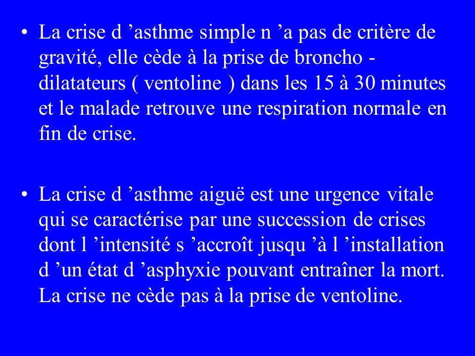 La crise d asthme simple n a pas de critère de gravité, elle cède à la prise de broncho - dilatateurs ( ventoline ) dans les 15 à 30 minutes et le mal