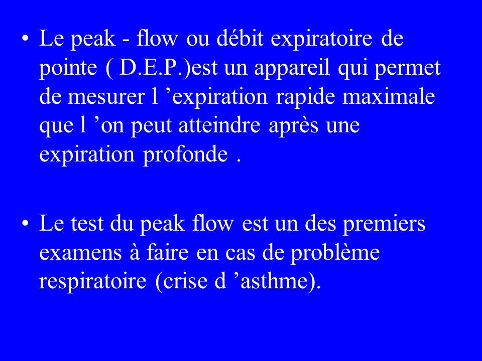 Le peak - flow ou débit expiratoire de pointe ( D.E.P.)est un appareil qui permet de mesurer l expiration rapide maximale que l on peut atteindre aprè