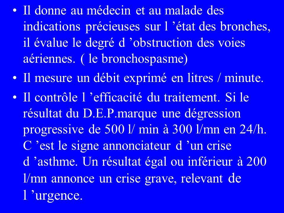 Il donne au médecin et au malade des indications précieuses sur l état des bronches, il évalue le degré d obstruction des voies aériennes. ( le bronch