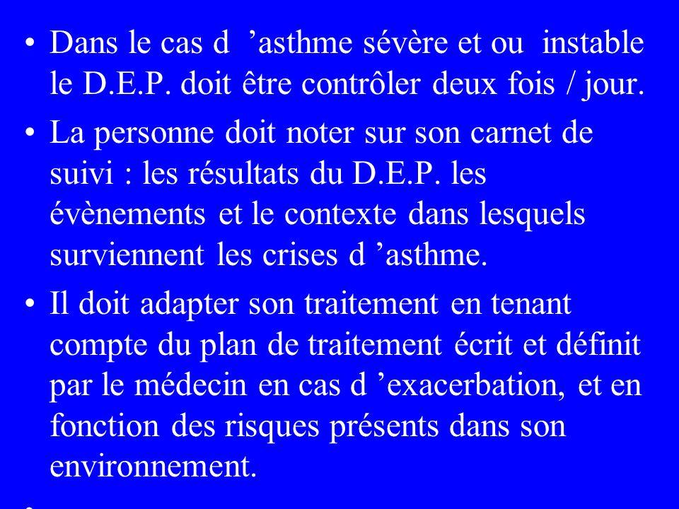 Dans le cas d asthme sévère et ou instable le D.E.P. doit être contrôler deux fois / jour. La personne doit noter sur son carnet de suivi : les résult