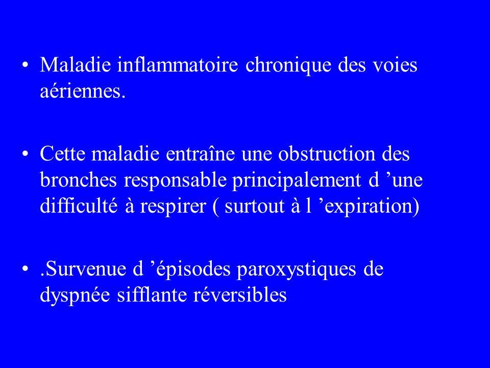 Maladie inflammatoire chronique des voies aériennes. Cette maladie entraîne une obstruction des bronches responsable principalement d une difficulté à